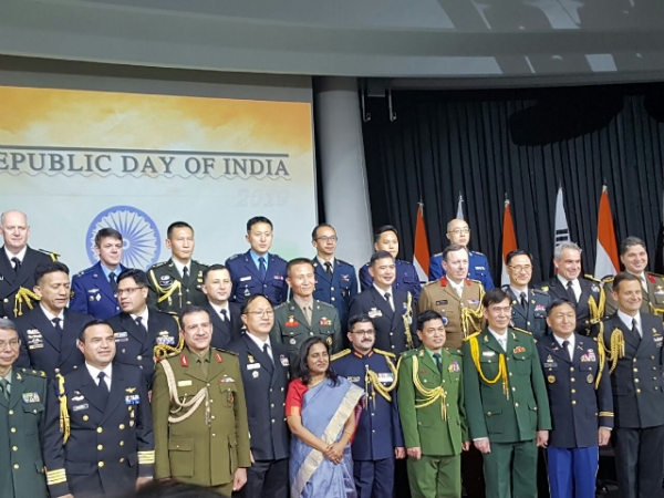 With defense attaches, India Amb. poses for mutual solidarity & cooperation.